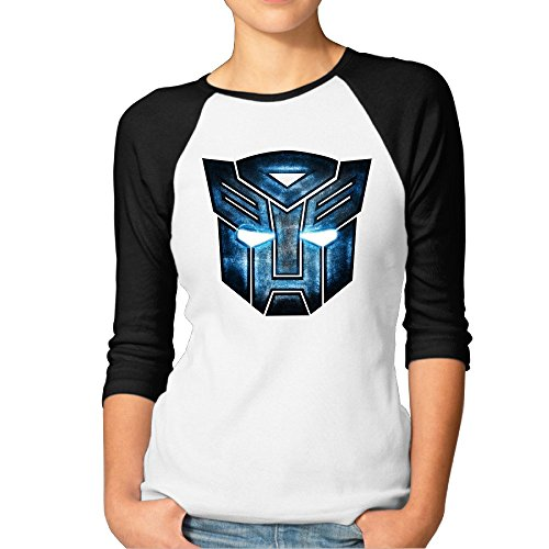 Womens Transformers Mask Baseball Athletic 3/4 Sleeve Tee Shirt ()
