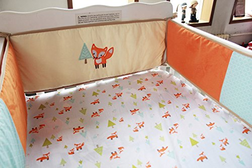 NAUGHTYBOSS Baby Bedding Set Cotton 3D Embroidery Prairie Fox Quilt Bumper Bedskirt Fitted Blanket 8 Pieces Color Matching by NAUGHTYBOSS (Image #6)