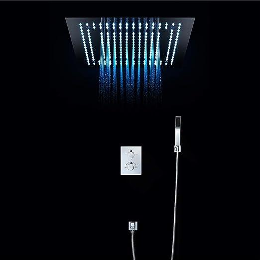 Pantalla LCD Inteligente Grifo Ba/ñera Cepillado Acero Inoxidable AuraLum 5-en-1 Columna de Ducha Hidromasaje con LED Panel de Ducha con Cascada