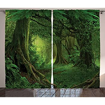 enchanting tropical theme living room | Amazon.com: Forest Decor Curtains by Ambesonne, Enchanted ...