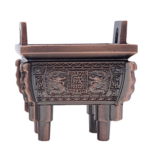 TRENDBOX Model B - Mini Vintage Design Ding Sheng Bronze Tripod Incense Cone Coil Stick Burner Holder Ash Catcher Chinese Traditional Style Buddhist Washable ()