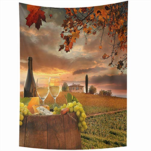 Ahawoso Tapestry 60x80 Inches Hand Red Sunset White Wine Barrel Modern On Vineyard Chianti Tuscany Italy Field Lettering Wall Hanging Home Decor Tapestries for Living Room Bedroom Dorm