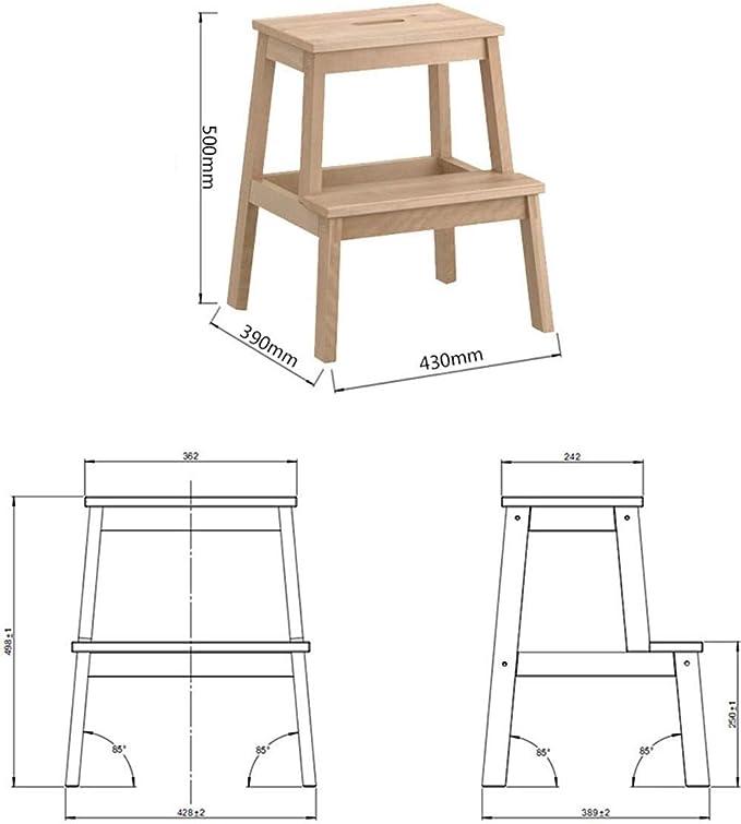 PIN Escaleras de mano de madera maciza Escalera de 2 escalones para niños, Lavado de manos de los niños en el hogar Taburete de 2 capas con escalones antideslizantes, Capacidad de carga: