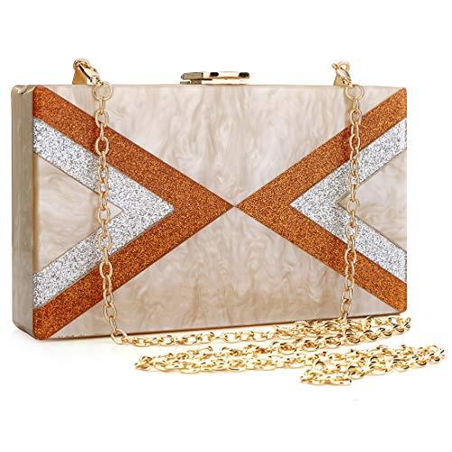 (EROGE Acrylic Clutch Purse Perspex Box Colorful Geometric Design Handbags for Women (Beige) )