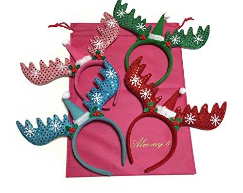 Almmy.6 숲 오를 것이 순록 머리띠 4 개 세트 + 수납 가방 + 크리스마스 스티커 크리스마스 파티 크리스마스 파티 의상 의상