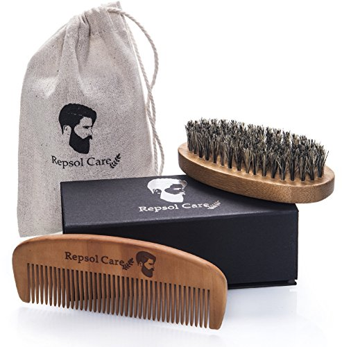 Beard Brush and Beard Comb kit for Men – Handmade Wooden Comb and Natural Boar Bristle Beard Brush for Men Beard  Mustache by Repsol Care