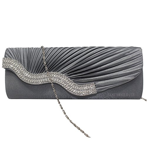 Handbag Party Grey Diamante Crystal Evening Wedding Womens Clutch Prom Wocharm Satin Ladies Bag FBqY7Pw