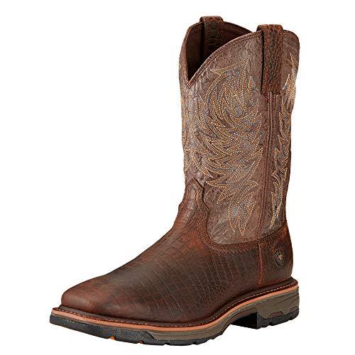 Ariat Men's Workhog Wide Square Toe Work Boot, Brown Crocodile Print/Dark Chocolate, 8.5 2E US (Net Boots)