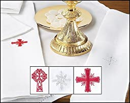 3 Pack of Alberta Celle Linen/cotton Purificator with Red Celtic Cross Design