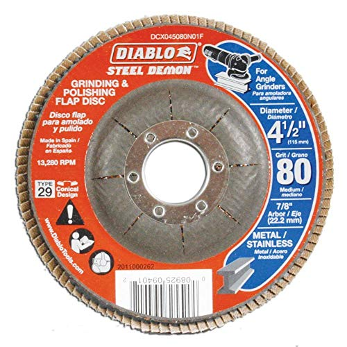 Diablo 4-1/2 in. 80-Grit Steel Demon Grinding and Polishing Flap Disc with Type 29 Conical Design (5-Pack) (Diablo Steel Demon Grinding And Polishing Flap Disc)