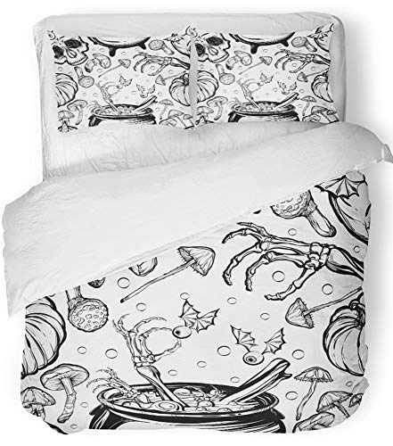Emvency 3 Piece Duvet Cover Set Breathable Brushed Microfiber Fabric Halloween The Witch's Cauldron Skull Leaves Pumpkin Mushrooms on White Tattoos Bedding Set with 2 Pillow Covers King Size