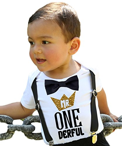Noahs Boytique Mr Onederful First Birthday Shirt Outfit Boy with Black Bow Tie Suspenders and Gold and Black Saying Cake Smash 1st Birthday Party 6-12 Months