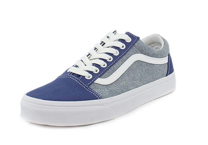 Vans Old Skool Sneaker Damen Herren Kinder Unisex Blau Hellblau (Chambray Canvas True Navy)