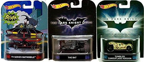 Hot Wheels Retro Entertainment Batman Tv Series Batmobile, The Bat & Tumbler Camouflage Version 3-Car Bundle Set