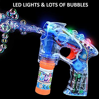 Haktoys 2-Pack Transparent Bubble Shooter Gun   Ready to Play Light Up Blower with LED Flashing Lights, Extra Bottle, Bubble Blaster Toy for Toddlers, Kids, Parties (Sound-Free, Batteries Included): Toys & Games