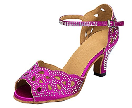 Heel out Latin Tango Party Shoes Salsa Crystal Ballroom High Wedding Comfort TDA Purple Cut Womens Dance OqW6tvvY