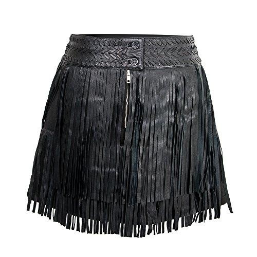 Casual Piel Faldas Zerimar De Flecos Falda Mujer L Negro Color Cuero Talla 1xpwqYCX