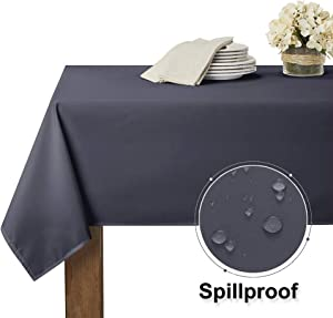 RYB HOME Spillproof Buffet Table Cloth Drape Tabletop Decor for Kitchen & Dinning, Stain Resistant & Washable Drape for 8 ft Rectangle Table for Indoor Outdoor Ues, 60 x 102 inch, Grey