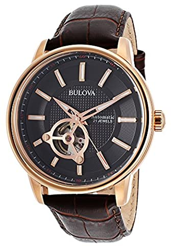 Bulova 97A109-DD Men's Automatic Dark Brown Genuine Leather Black Dial