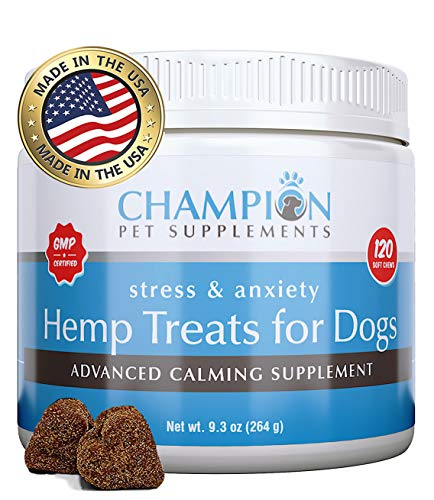 Calming Treats for Dogs, Made in USA, Organic Hemp Oil Infused Soft Chews for Dog Anxiety Relief, Stress, Anxiety, Storms, Barking, Separation and More, Organic Ingredients, 120 Count (Best Muscle Relaxers For Anxiety)