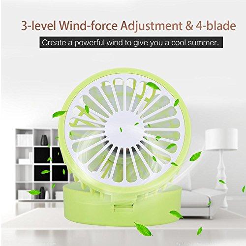 fosa Mini USB Desk Cooling Fan, Lemon Style Air Circulator Fan 3-level Adjustment Powerful Wind USB Desktop Fan for Home Office School(Green) by fosa (Image #4)
