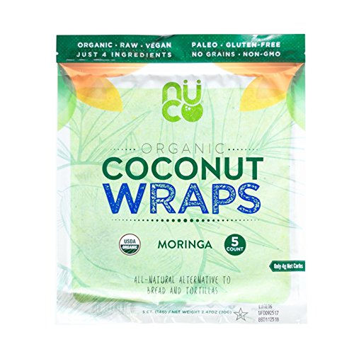 - NUCO Certified ORGANIC Paleo Vegan Gluten & Grain Free Moringa Coconut Wraps, 5Count (One Pack of Five Wraps)
