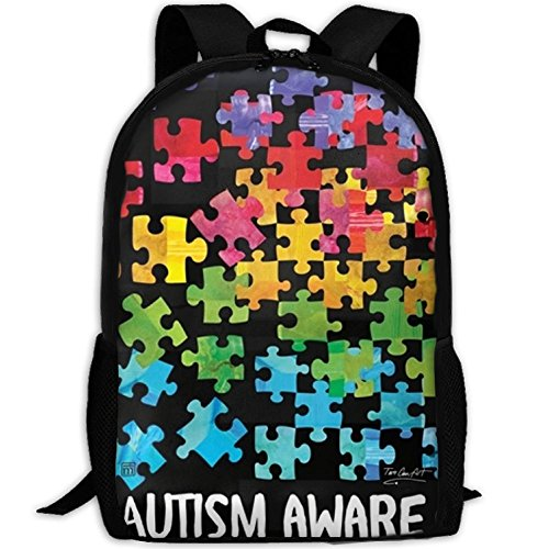 Autism Awareness.jpg Unique Outdoor Shoulders Bag Fabric Backpack Multipurpose Daypacks For -