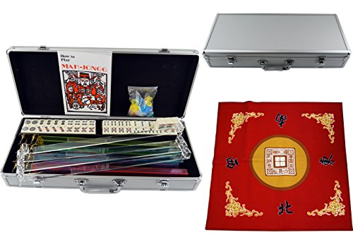 American Mahjong 166 Tiles Set w/ Racks Brief Case 4 Color Pushers/Racks Western Mahjongg Silver w / Red Table Cover ()