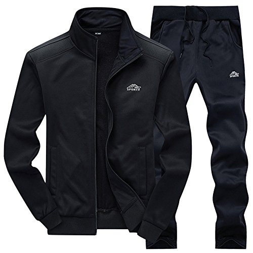 JINSHI Mens Athletic Jacket and Pants Sports Training Track Suit Set (Black3,L) ()