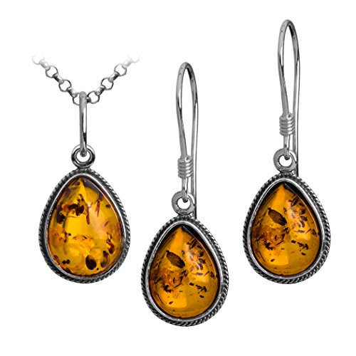 Amazon Lightning Deal 75% claimed: Sterling Silver Amber Drop Small Charm Pendant Earrings Set 18 Inches