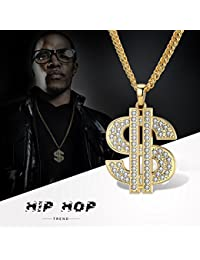 Mens Gold Chain Necklace Dollar Sign Pendant Costume Hip Hop Jewelry