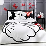 S Hotel Collection Luxury Soft Microfiber Printed Mickey Mouse Couples Duvet Cover Set-Silky Soft-Wrinkle & Fade Resistant -3pc