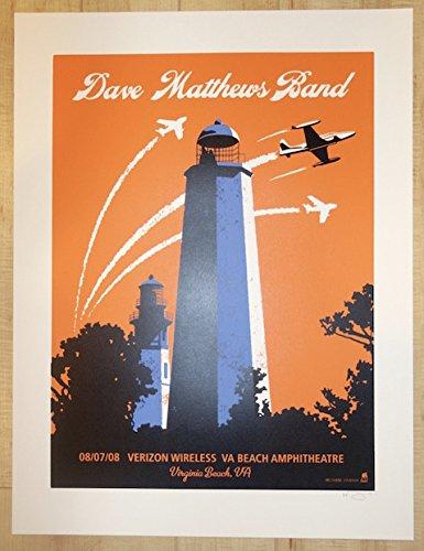 (2008 Dave Matthews Band - Virginia Beach Silkscreen Concert Poster by Methane)
