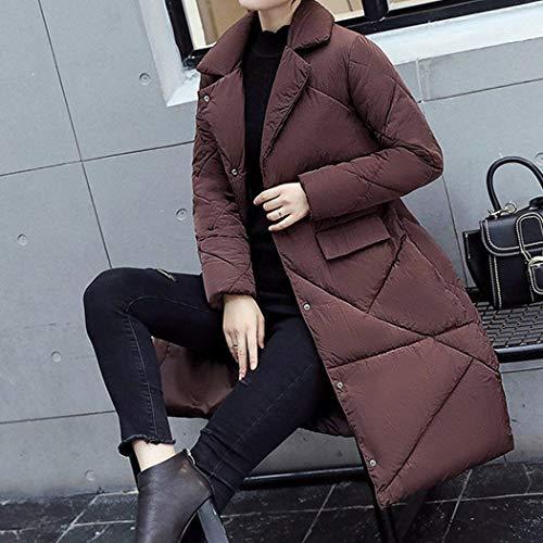 Outwear Jeune Breal Poches Parka Simple Avant Longues Boutonnage Braun Femme Doudoune Revers Hiver Manches Outerwear Chaud Biran Mode wfZOZq