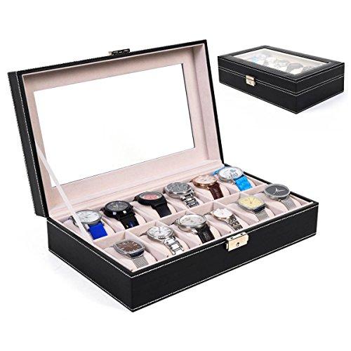 12-slots-leather-watch-display-case-box-jewelry-storage-organizer-glass-top