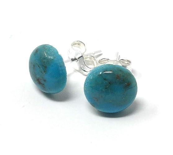 552e6079a Turquoise Studs - Sterling Silver Stud Earrings - Healing Gemstone Gift - 8mm  Crystal Earrings: Amazon.co.uk: Handmade
