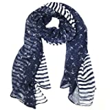 "Wrapables Stripes and Anchor Nautical Marine Scarf 72"" X 42"""