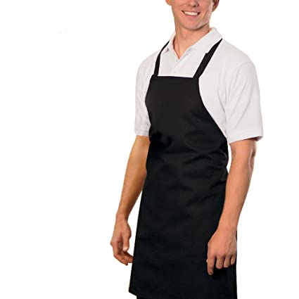 Amazon.com: Heselian Professional Black Bib kitchen Apron, Cooking ...