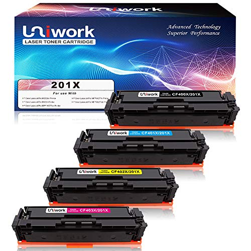 Uniwork 201X Toner Compatible for HP 201A CF400A 201X CF400X M277dw M252dw Toner Cartridge for HP Color LaserJet Pro MFP M277dw M252dw M277c6 M277n M252n Printer (CF400X CF401X CF402X CF403X) (Mfp Drum Cartridge)