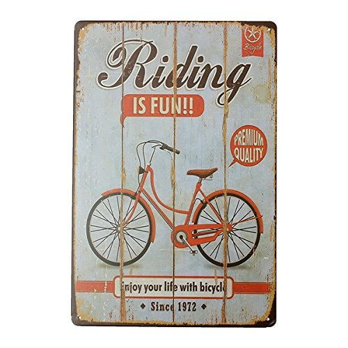 Inovey Bicicleta Estaño Signo Vintage Metal Placa Cartel Bar ...