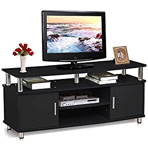 topeakmart modern black tv cabinet stand for tvs up to 50 inch flat screens tv media. Black Bedroom Furniture Sets. Home Design Ideas