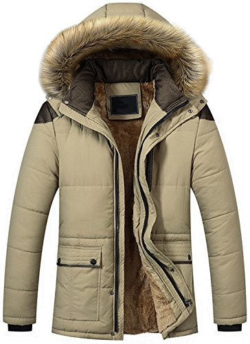 chouyatou Men's Winter Removable Hooded Frost-Fighter Sherpa Lined Midi Packable Parka Jackets (Khaki, Large)