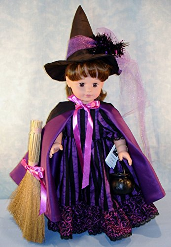 18 Inch Doll Clothes - Purple Striped Witch Halloween Costume handmade by Jane Ellen to fit 18 inch dolls - Ellen Costumes For Halloween