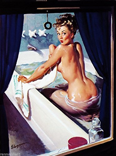 [1940S PIN-UP GIRL BUSTED IN THE BATH PICTURE POSTER PRINT VINTAGE ART PIN UP. Poster measures 10 x 13.5] (1940s Pin Up Girl)
