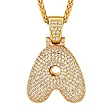 """U7 Bling Alphabet Name Jewelry Men CZ Crowned Initial Necklace Iced Out King Crown/Bubble Pendant Women 18K Gold Plated Cubic Zirconia Letter Pendant 3mm 22"""" Rope Chain Necklaces, from A to Z"""