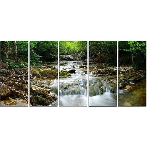 Designart Natural Spring Waterfall-Landscape Photo Canvas Print-60×28-5, 60×28-5 Equal Panels, Green