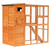 PawHut 77' x 38' x 69' Large Wooden Outdoor Cat Enclosure Catio Cage with Ramp and Covered House