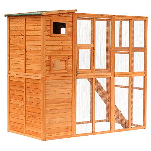 PawHut Large Wooden Outdoor Cat Enclosure Cage with Ramp and Main House