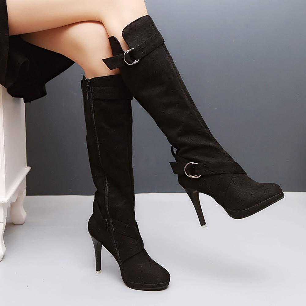 0dad1a8fc5d Gyoume High Heel Boots Women Winter Over Knee Boots Xmas Boots Shoes Dress  Shoes