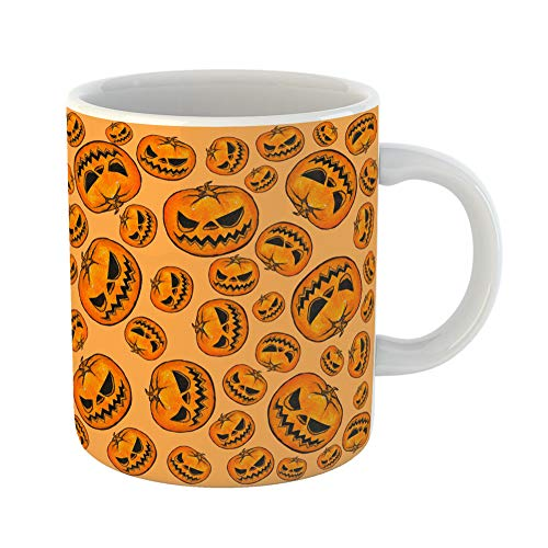 Emvency Coffee Tea Mug Gift 11 Ounces Funny Ceramic Orange Abstract Halloween Pumpkins Pattern Yellow Bat Gifts For Family Friends Coworkers Boss Mug